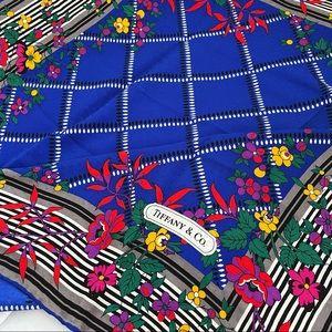 💋Auth - Royal Blue Tiffany & Co Pure Silk Scarf